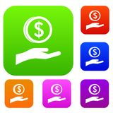 Hand and dollar coin set collection Royalty Free Stock Photo