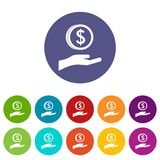 Hand and dollar coin set icons Royalty Free Stock Images