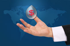 Hand and dollar sign. Image of hand and dollar sign to be success global business royalty free stock photography
