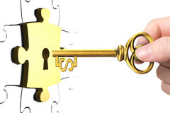 Hand with dollar sign key open lock puzzle piece. Hand holding dollar sign key to open gold lock puzzle piece Stock Image