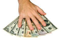 Hand on dollars. Banknotes,  isolated on white, clipping path included Royalty Free Stock Photos