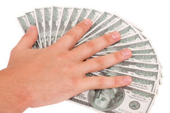 Hand on the dollars Royalty Free Stock Photo