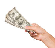Hand with dollars Royalty Free Stock Photos