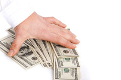 Hand and dollars. Royalty Free Stock Images