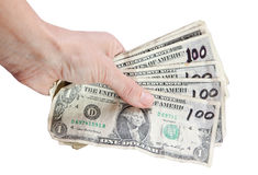 Hand with dollars. One dollar bills with tape and one hundred written on them in black Stock Photo