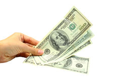 Hand and dollars royalty free stock photo