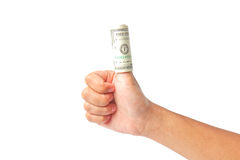 Hand with dollars on white background Royalty Free Stock Images