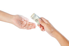 Hand with dollars on white background Stock Photo