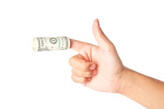 Hand with dollars on white background Stock Images