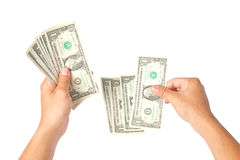 Hand with dollars on white background Stock Photography