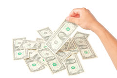 Hand with dollars on white background Royalty Free Stock Photo