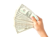 Hand with dollars on white background Royalty Free Stock Photos
