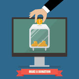 Hand donating money by online payments Stock Image