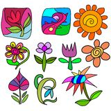 Hand doodle. A vector set of hand drawn glass art doodles Stock Images