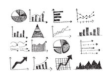 Hand doodle Business Graph charts Stock Photos