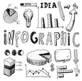Hand doodle charts elements background. Vector illustration Stock Images