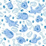 Hand doodle with funny blue dogs, paw prints and bones. Vector seamless pattern wallpaper, background. Cute surface design for royalty free illustration
