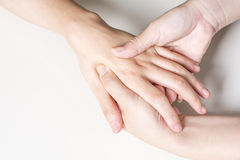Hand dorsal massage Stock Photo