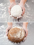 Hand with the dough and bread Royalty Free Stock Photography