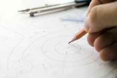 Hand drafting a plan royalty free stock photo