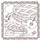 Hand dragen äppelpaj vektor illustrationer