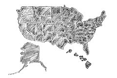 Hand dragen översikt av Amerikas förenta stater vektor illustrationer
