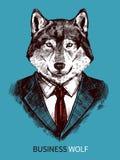 Hand dragen affär Wolf Poster stock illustrationer