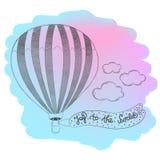 Hand dragen airballoondesign med citationsteckenglädje till världen Royaltyfria Foton