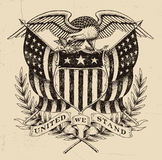 Hand dragen amerikan Eagle Linework stock illustrationer