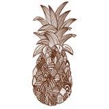 Hand dragen ananas på vit bakgrund Arkivfoto