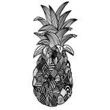 Hand dragen ananas på vit bakgrund Royaltyfria Foton