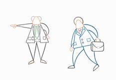 Hand-dragen arbetare f?r aff?rsman f?r vektorframstickandeskottlossning royaltyfri illustrationer