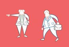 Hand-dragen arbetare f?r aff?rsman f?r vektorframstickandeskottlossning stock illustrationer