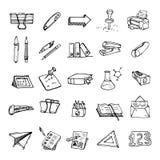 Hand dragen arbetsplats med symbolen för brevpapperuppsättningklotter tecknad hand royaltyfri illustrationer
