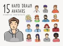Hand dragen avatarsuppsättning av olika tecken Arkivbilder