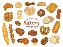 Hand dragen bageriproduktsamling Royaltyfria Foton