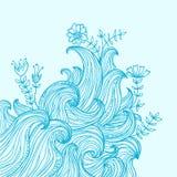Hand-dragen bakgrund för vektorfärg abstrakt begrepp med vågor Arkivbild