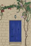 Hand dragen blå dörr med lampan Klättringträd på väggen Royaltyfri Bild