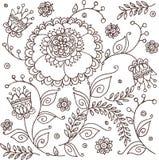 Hand dragen blom- bakgrund med klockblommor Arkivbilder