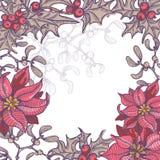 Hand dragen blom- julbakgrund royaltyfri illustrationer