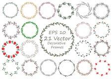 Hand-dragen blom- ram för vattenfärg som göras i vektor Arkivfoton
