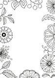 Hand dragen blom- ram i klotterstil med blommor och sidor, vektorillustration Royaltyfri Bild