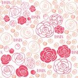 Hand dragen blom- sömlös modell för rosor Arkivfoton