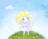 Hand dragen blyertspennaillustration av en gullig liten flicka Arkivfoto