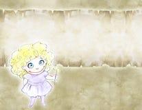 Hand dragen blyertspennaillustration av en gullig liten flicka Royaltyfria Bilder