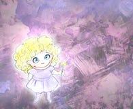 Hand dragen blyertspennaillustration av en gullig liten flicka Arkivbild