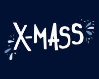Hand-dragen bokstäver för julferieX-MAS royaltyfri illustrationer