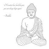 Hand dragen Buddhaillustration Fotografering för Bildbyråer