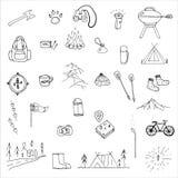 Hand dragen campa symbolsuppsättning Arkivbild