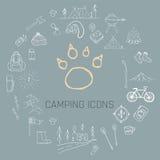 Hand dragen campa symbolsuppsättning Arkivbilder